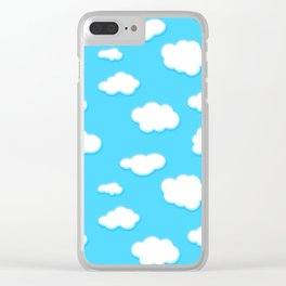sky of blue and fluffly white clouds Clear iPhone Case