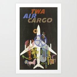 TWA AIR CARGO VINTAGE POSTER Art Print