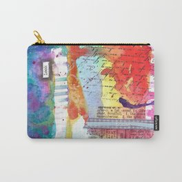 """""""Look"""" Mixed Media: Watercolor, Pen, Ink, Ribbons, Stitching and Stamps. Fun and Original! Carry-All Pouch"""