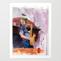 saxophone Art Prints featuring Playing saxophone by aurora villaviejas