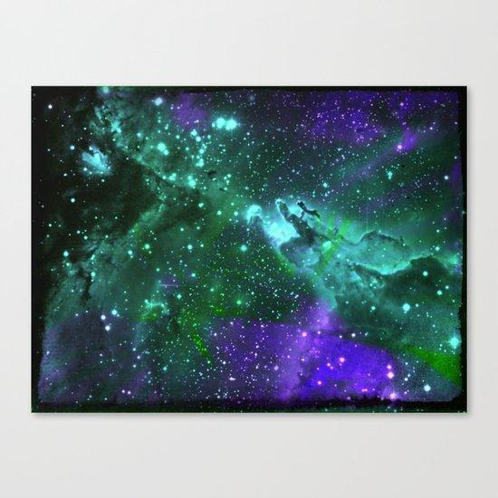 Aqua N Amethyst Space Flower Canvas Print