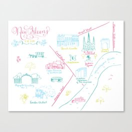New Orleans, Louisiana Illustrated Calligraphy Map Canvas Print