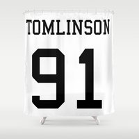 louis tomlinson Shower Curtains featuring TOMLINSON by kikabarros