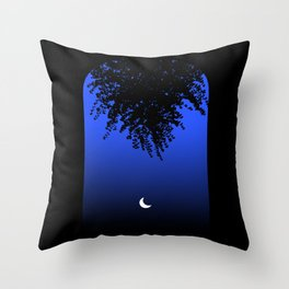 Moon shining through an Archway and Branch Silhouette, on a Blue Night Sky . Larger Throw Pillow