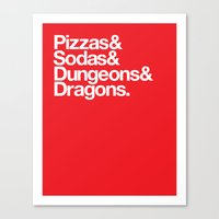 dungeons and dragons Canvas Prints featuring Dungeons & Dragons & Swag by Tuff Industries