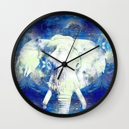 Blue marble water White Elephant Digital art Wall Clock