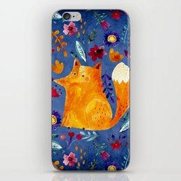 The Smart Fox in Flower Garden iPhone Skin