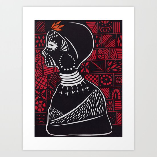 Tribal woman with traditional patterns Art Print