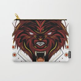 Red wolf logo, angry wolves face, head wolf illustration with dark style. design for apparel and merchandise. Carry-All Pouch