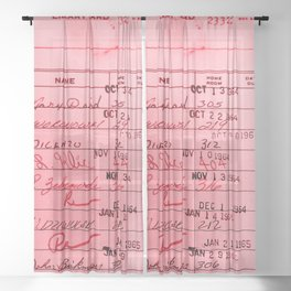 Library Card 23322 Pink Sheer Curtain