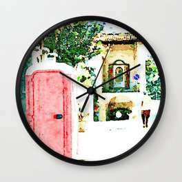 L'Aquila: red cabin with city gate Wall Clock