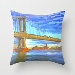 Manhattan Bridge Pop Art Throw Pillow