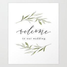 Wedding Welcome Watercolor Greenery Art Print