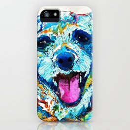 Colorful Dog Art - Smile - By Sharon Cummings iPhone Case
