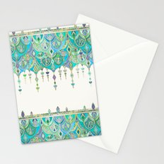 Art Deco Double Drop in Jade and Aquamarine on Cream Stationery Cards