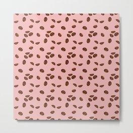 Coffee Talk - Blush Pink and Brown Metal Print