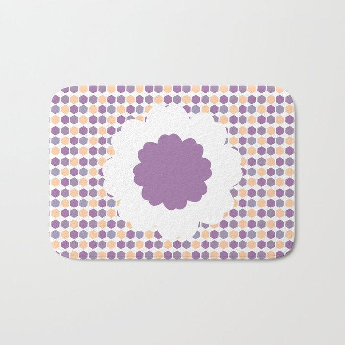 Flower and purple hexagons Bath Mat