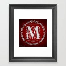 Joshua 24:15 - (Silver on Red) Monogram M Framed Art Print
