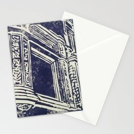 victorian house facade detail linocut print Stationery Cards