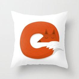 Sleepy Fox Throw Pillow