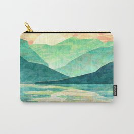 Spring Sunset over Emerald Mountain Landscape Painting Carry-All Pouch