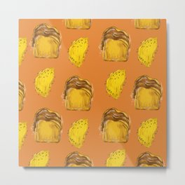 Brunch Pattern-French Toast Omelette Metal Print