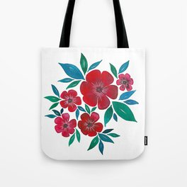 Red Flowers watercolor Tote Bag