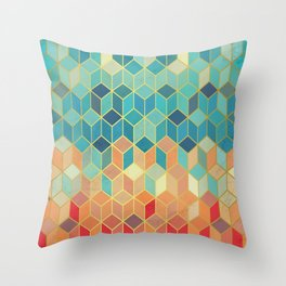 Colorful Squares with Gold - Friendly Colors and Marble Texture Throw Pillow