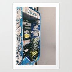 Pineapple on the phone Art Print