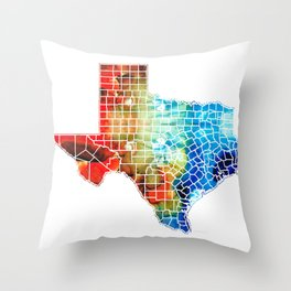 Texas Map - Counties By Sharon Cummings Throw Pillow