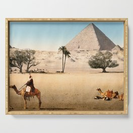 Vintage Pyramid : Grand Pyramid Gizeh Egypt 1895 Serving Tray