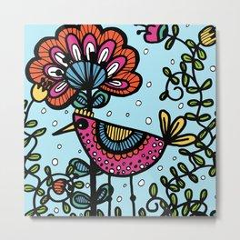 Weird and wonderful (Bird) - fun, bright flower and bird artwork Metal Print