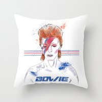 bowie Throw Pillows featuring Bowie by Usagi Por Moi