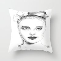 cara delevingne Throw Pillows featuring Cara Delevingne by Rillwatermist