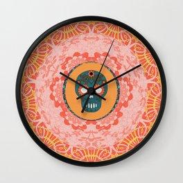 Pretty Sugar Skull Boho Print Wall Clock