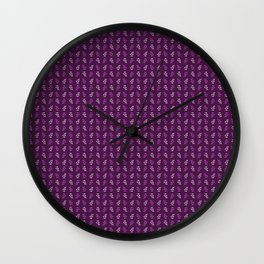 Purple Leaves Pattern Wall Clock