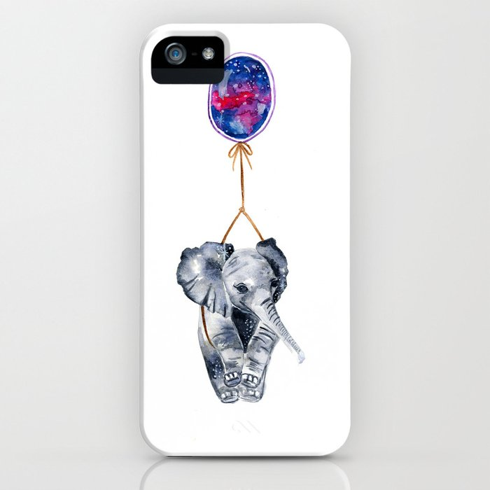 flying elephant watercolor painting  iPhone Case