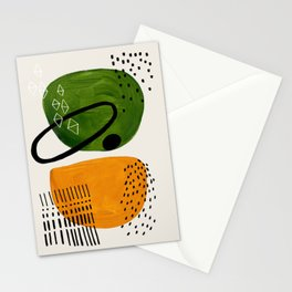 Mid Century Modern Abstract Colorful Art Patterns Olive Green Yellow Ochre Orbit Geometric Objects Stationery Cards