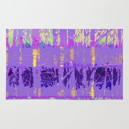 Abstract Forest Trees in Lavender and Lilac Rug