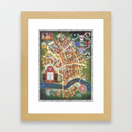 HARVARD University map MASSACHUSETTS Framed Art Print