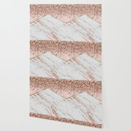 Shimmering rose gold with rose gold marble Wallpaper