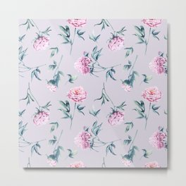 Delicate watercolor peonies seamless pattern on a pink background Metal Print