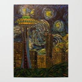 Dedication to Van Gogh: Seattle Starry Night Poster