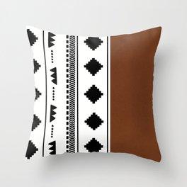 Southwestern white with faux leather texture Throw Pillow