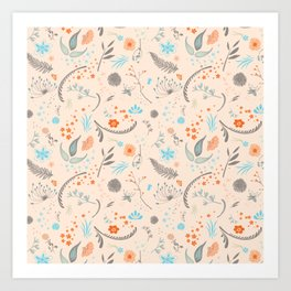 Floral Pattern with Flowers and Leaves Art Print