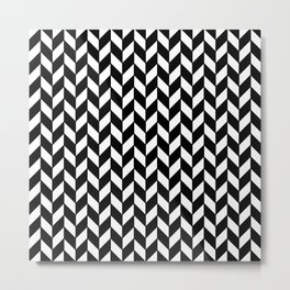 Black Herringbone - Baby Stimulation Pattern Metal Print