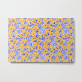 Chinoiserie Peacock Golden Yellow Metal Print