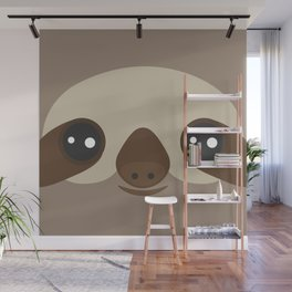 funny and cute smiling Three-toed sloth on brown background Wall Mural