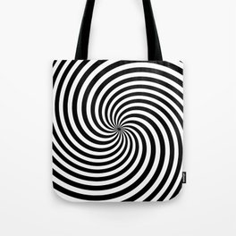 Black And White Op Art Spiral Tote Bag
