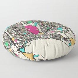 Colorful City Maps: Long Beach, New York Floor Pillow